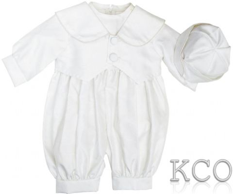 Classic Dupion Romper White~ Boys Suits